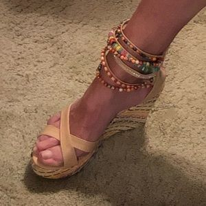Shoes - sandals with beaded ankle straps